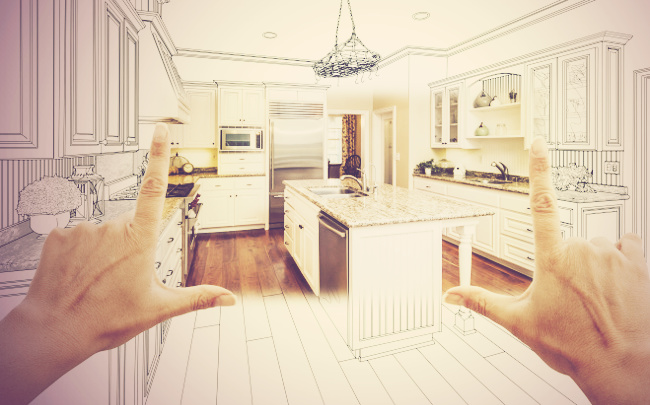Superieur ... Female Hands Framing Custom Kitchen Design Drawing And Square Photo  Combination.